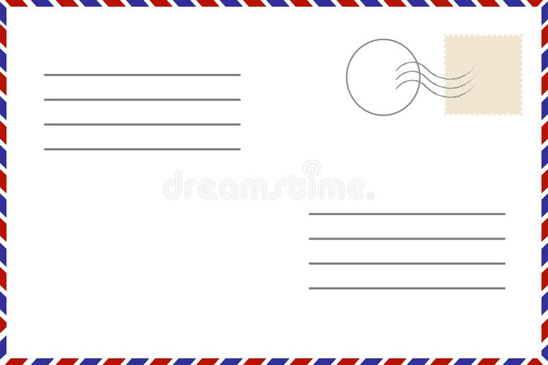 古色古香的可收帐的邮件对象明信片相关葡萄酒 老模板 与邮票的减速火箭的航寄信封 库存例证