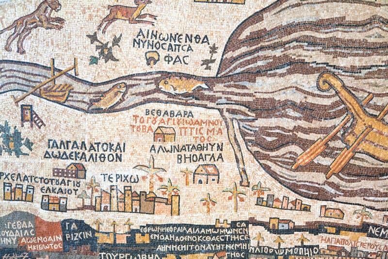 古色古香的圣地madaba映射复制品 图库摄影