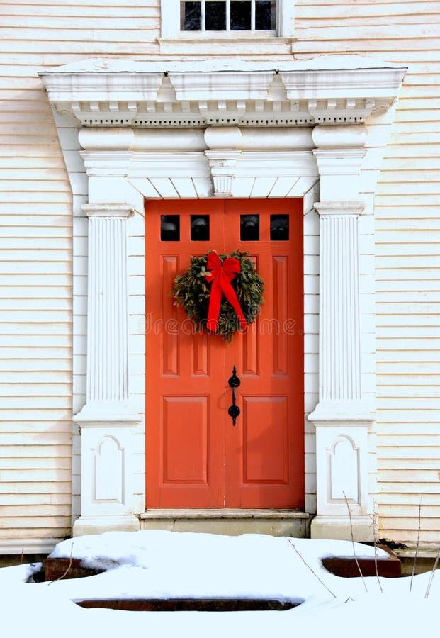 古色古香的圣诞节门 库存照片