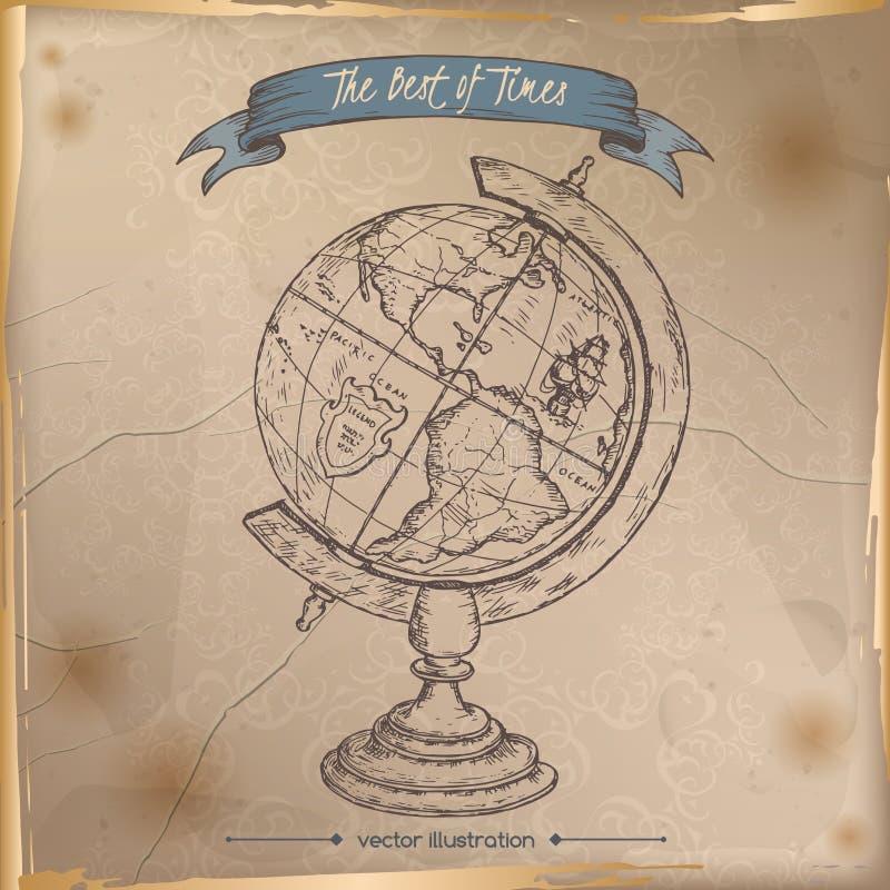 古色古香的在老纸背景安置的地球手拉的剪影 向量例证