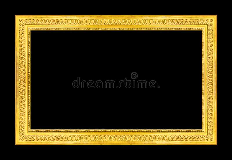 古色古香的在黑背景隔绝的图片金黄框架, clipp 库存图片