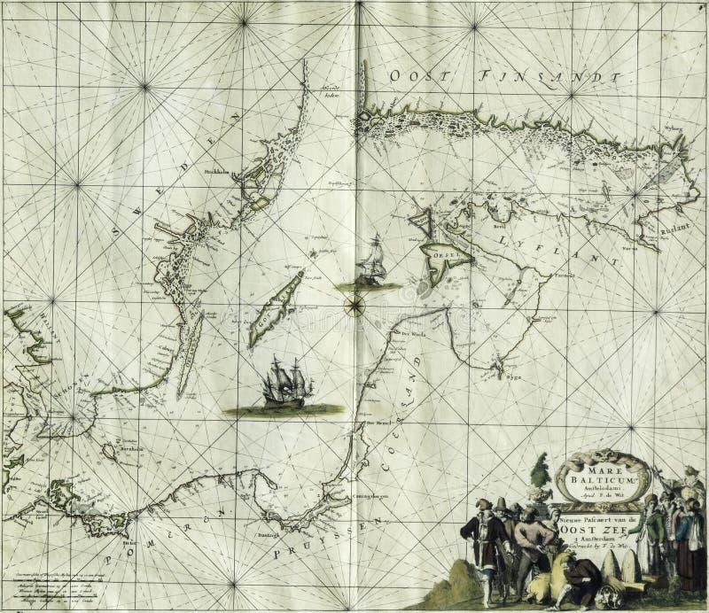 古色古香的地图波罗的海 图库摄影