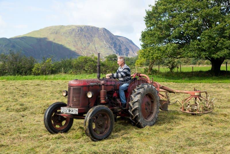 古色古香的大卫布朗拖拉机和打谷机 库存图片