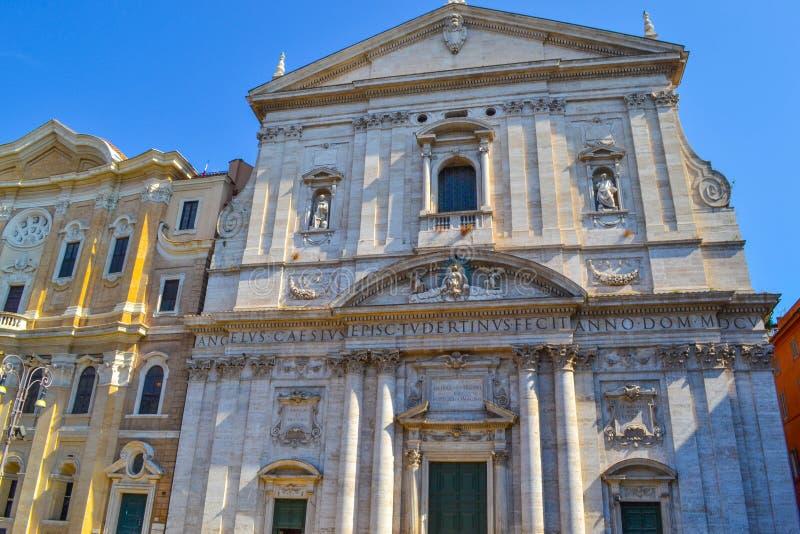 古色古香的大厦在纳沃纳广场Navona广场,在罗马, Ital 免版税库存照片