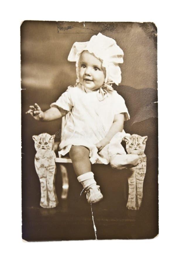 古色古香的婴孩照片 图库摄影