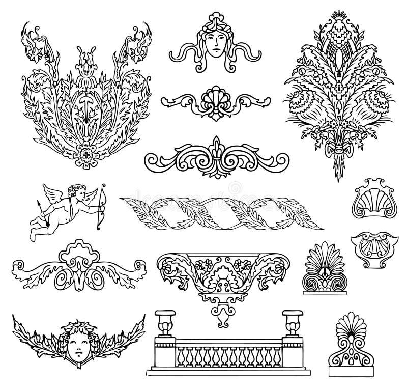 古色古香的巴洛克式的装饰品向量 库存例证