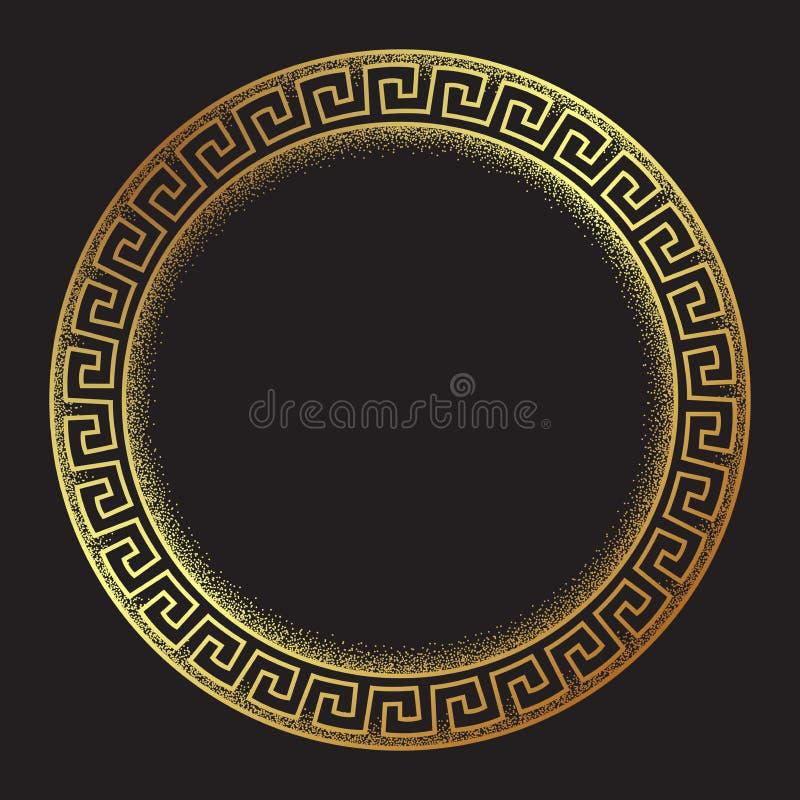 古色古香的希腊样式金子河曲ornanent手拉的线艺术和小点工作圆的框架设计传染媒介例证 向量例证