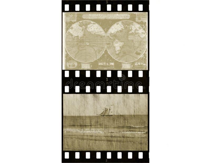 古色古香的影片主街上旅行 免版税库存照片