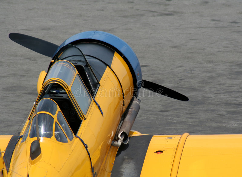 古色古香的战斗机黄色 免版税图库摄影