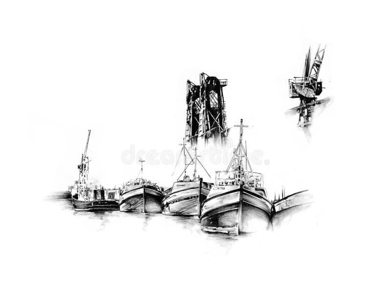 古色古香的手工制造小船海成为原动力的图画 皇族释放例证