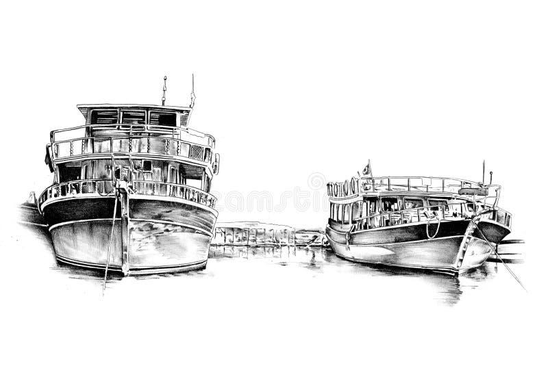 古色古香的手工制造小船海成为原动力的图画 库存例证