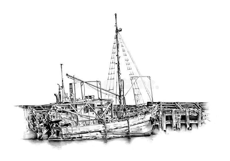 古色古香的手工制造小船海成为原动力的图画 向量例证