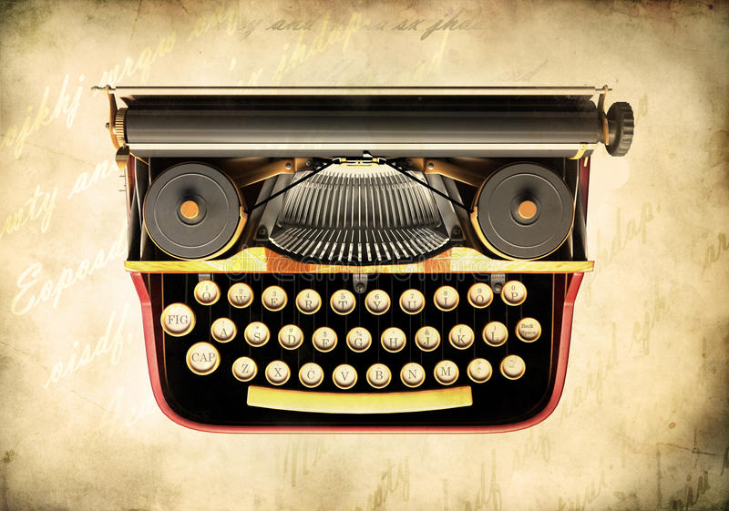 古色古香的打字机 向量例证