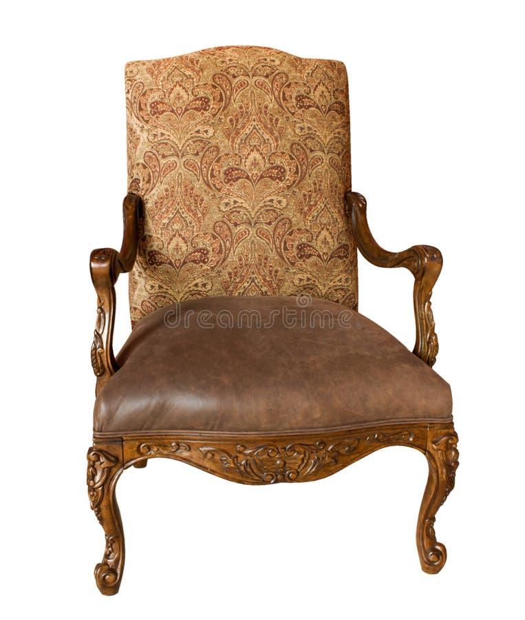 古色古香的扶手椅子查出的白色 库存照片