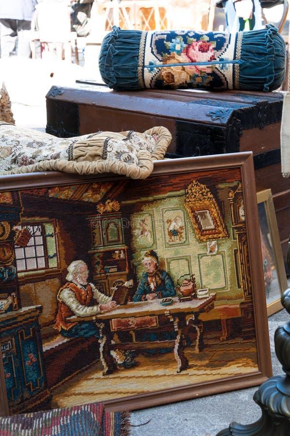 古色古香的挂毯材料 库存照片