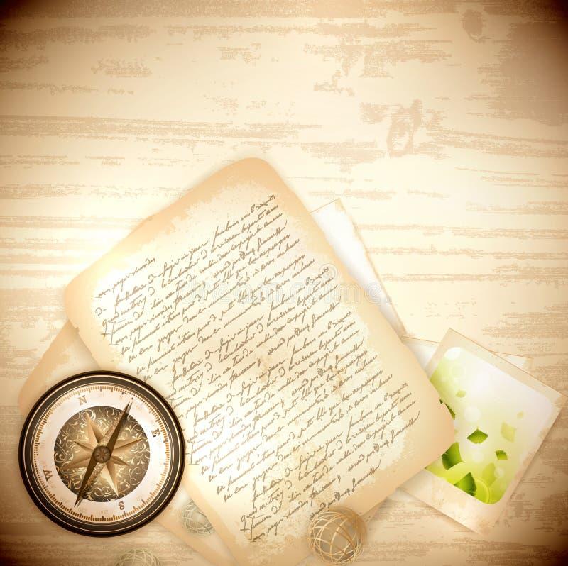 古色古香的指南针信函老葡萄酒 库存例证