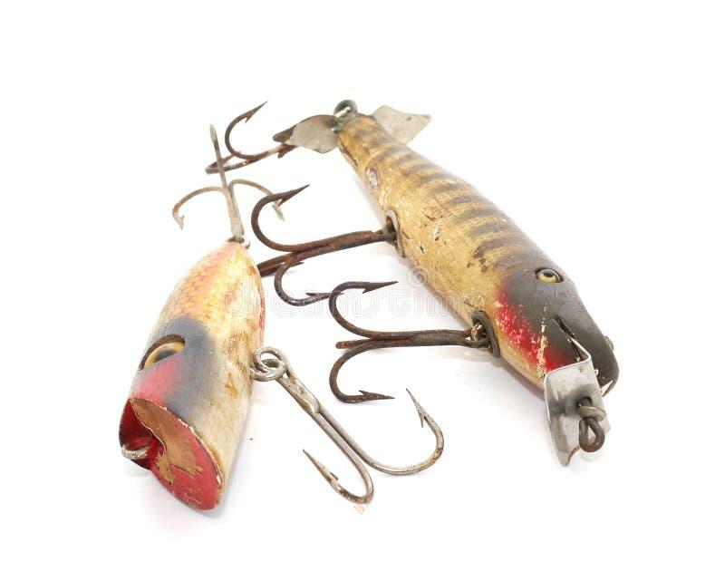 古色古香的捕鱼诱剂 免版税图库摄影
