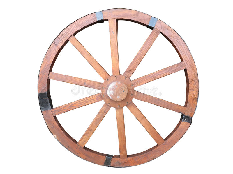 古色古香的推车轮子被隔绝的由木和铁线制成 库存图片