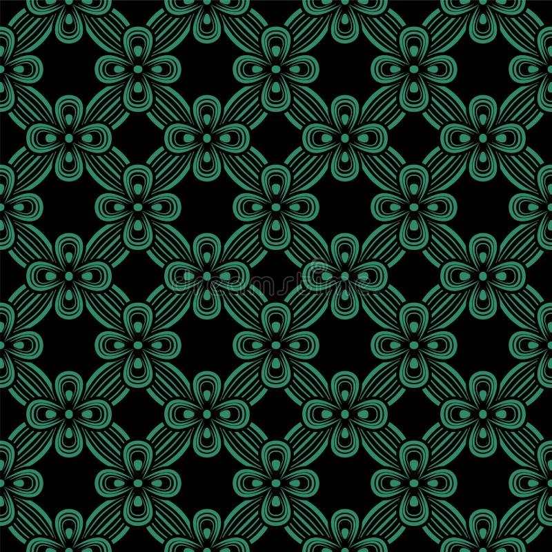 古色古香的无缝的绿色背景丝带十字架花 向量例证