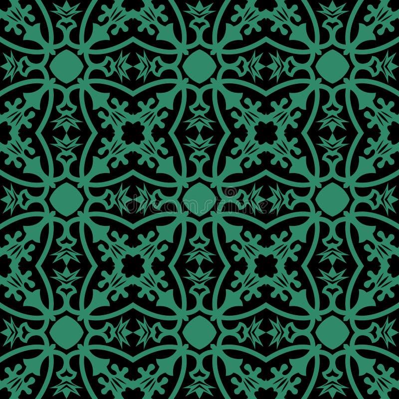 古色古香的无缝的绿色背景花藤花苞叶子 皇族释放例证