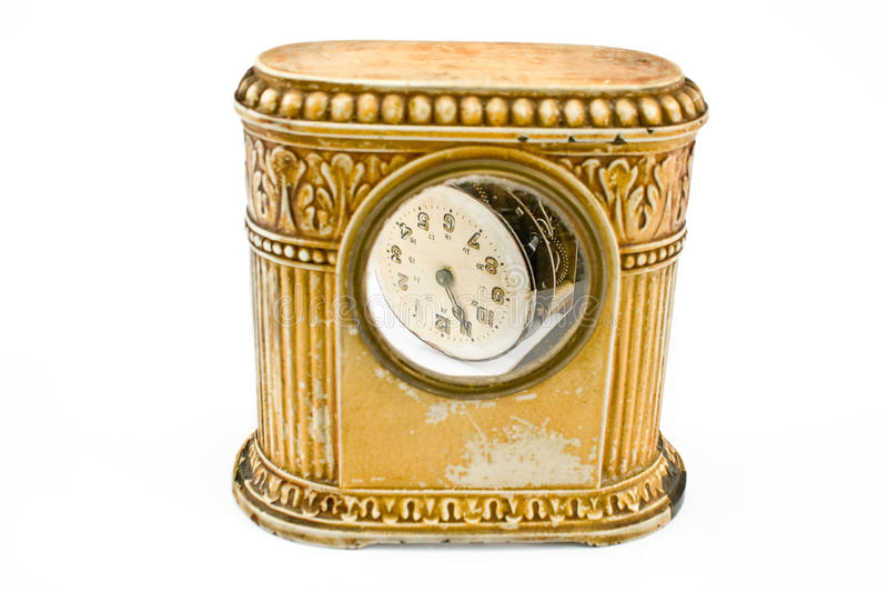 古色古香的时钟损坏了结构 免版税库存图片