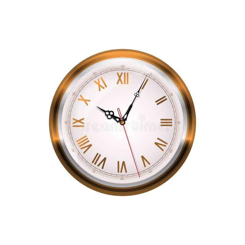 古色古香的时钟查出的墙壁白色 金有罗马数字的壁钟 华丽钟针 现实传染媒介艺术 库存例证