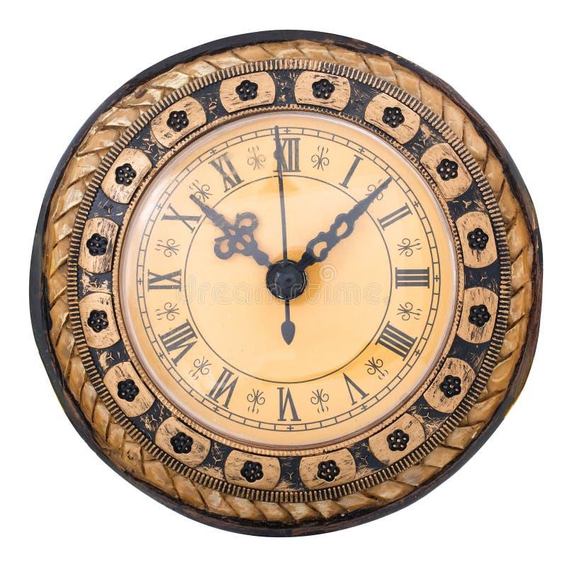 古色古香的时钟查出的老白色 免版税图库摄影