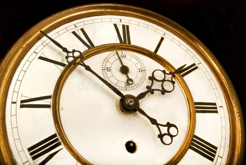 古色古香的时钟表盘,滴答作响的时间  免版税库存照片