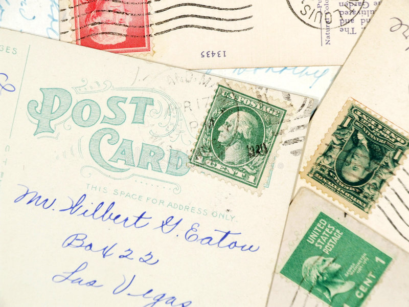 古色古香的明信片使用了 免版税库存照片