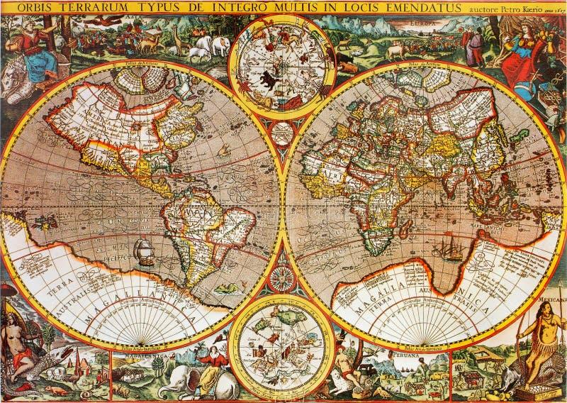 古色古香的映射世界 免版税图库摄影