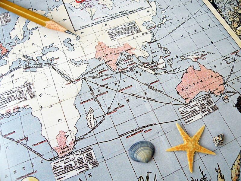 古色古香的映射太平洋地区 免版税库存图片