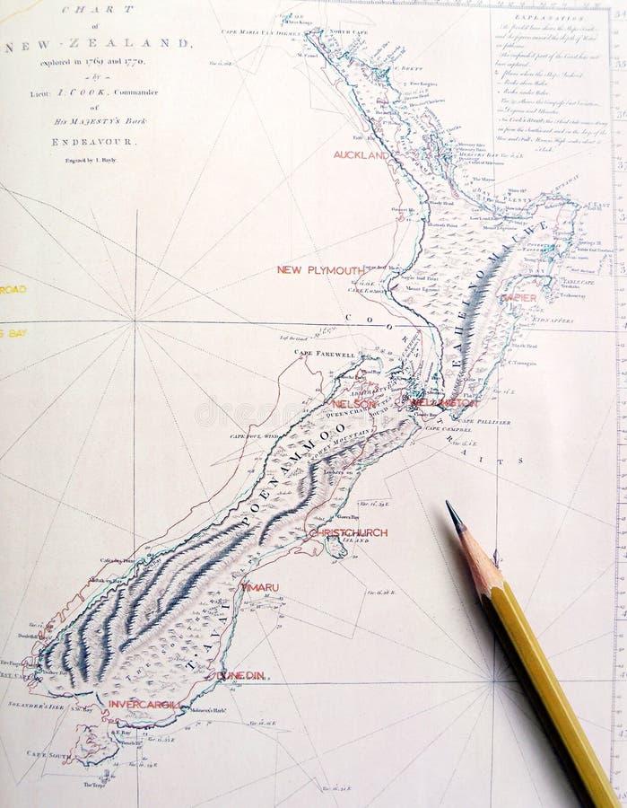 古色古香的映射新西兰 免版税库存照片