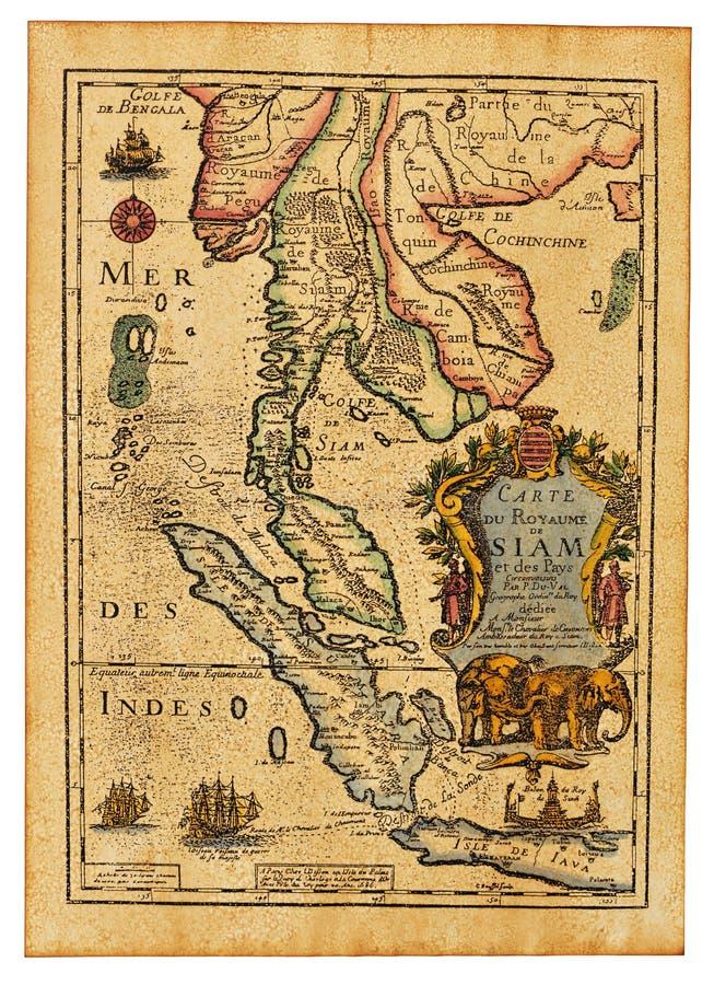 古色古香的映射泰国 免版税库存图片
