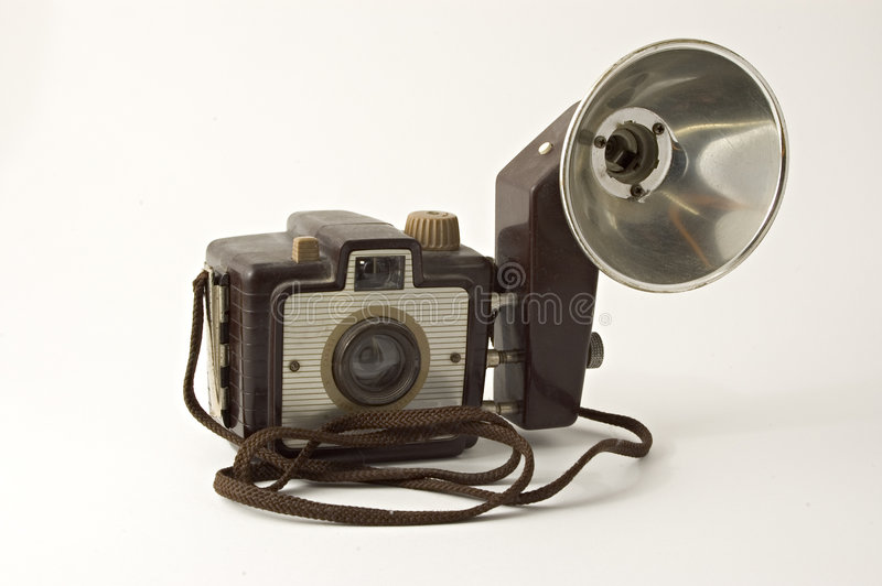 古色古香的果仁巧克力照相机 免版税图库摄影
