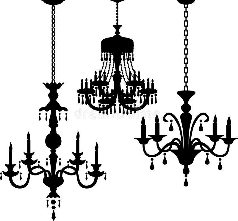 古色古香的枝形吊灯eps剪影 向量例证