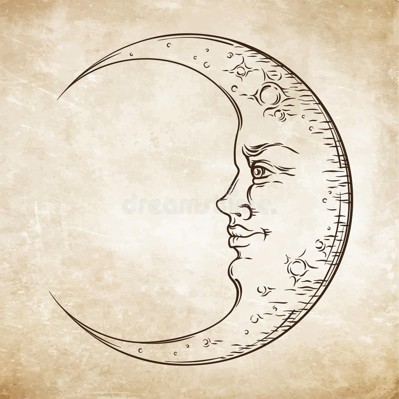 古色古香的样式手拉的艺术月牙月亮 Boho别致的纹身花刺设计传染媒介 库存例证