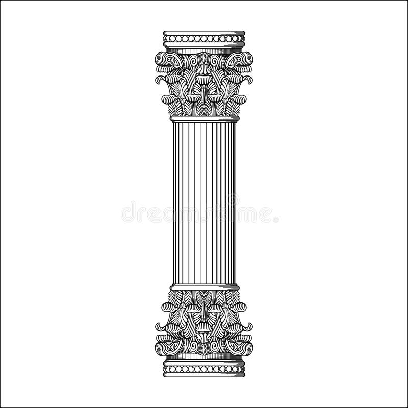古色古香的框架柱子传染媒介 库存例证