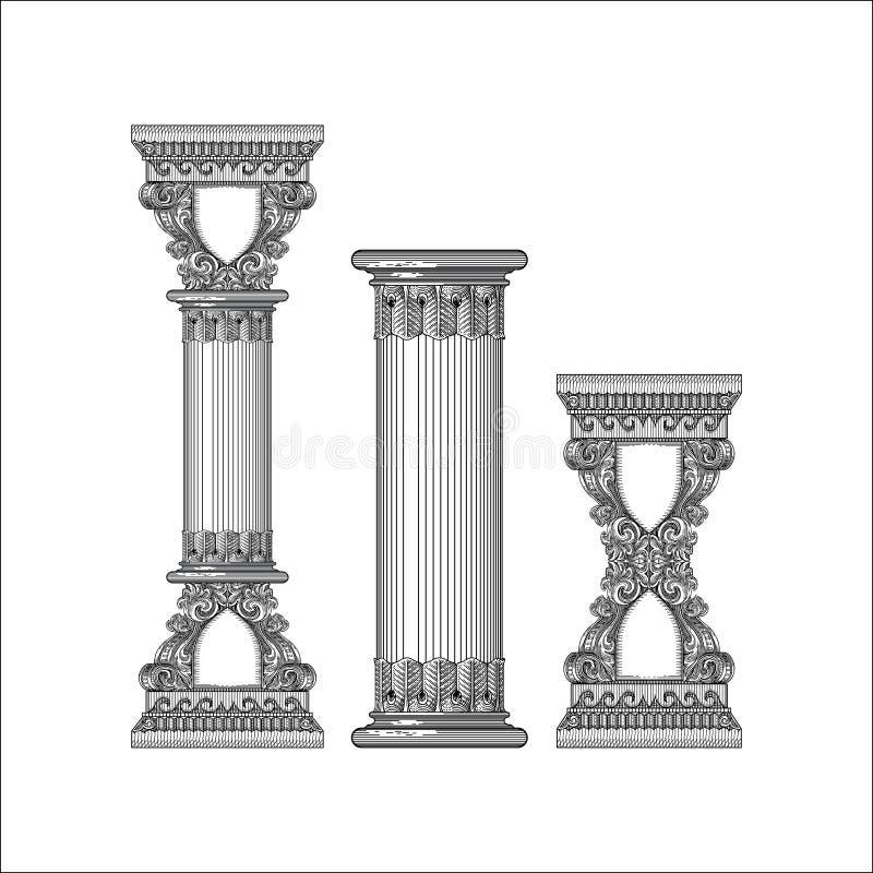 古色古香的框架柱子传染媒介 向量例证