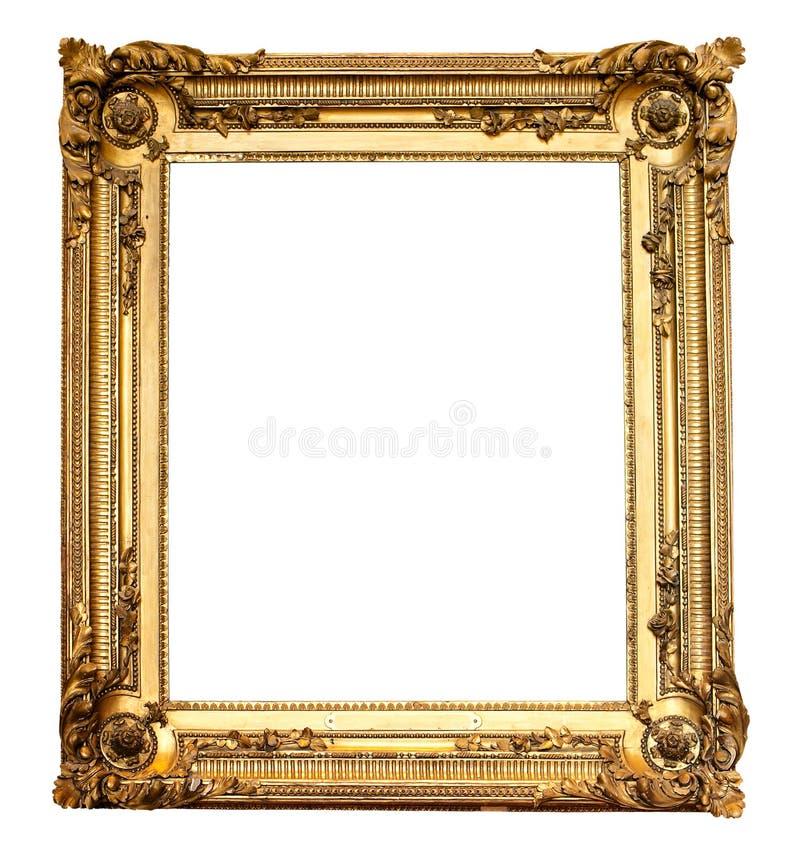 古色古香的框架金子查出的老实际 免版税库存图片