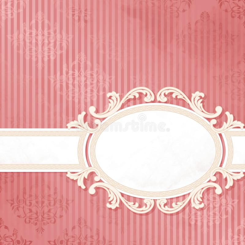 古色古香的横幅粉红色婚礼白色 皇族释放例证