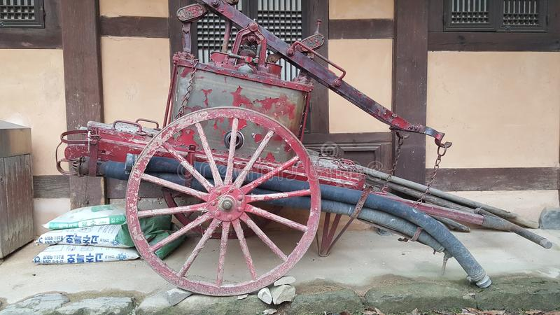 古色古香的消防车无盖货车 图库摄影