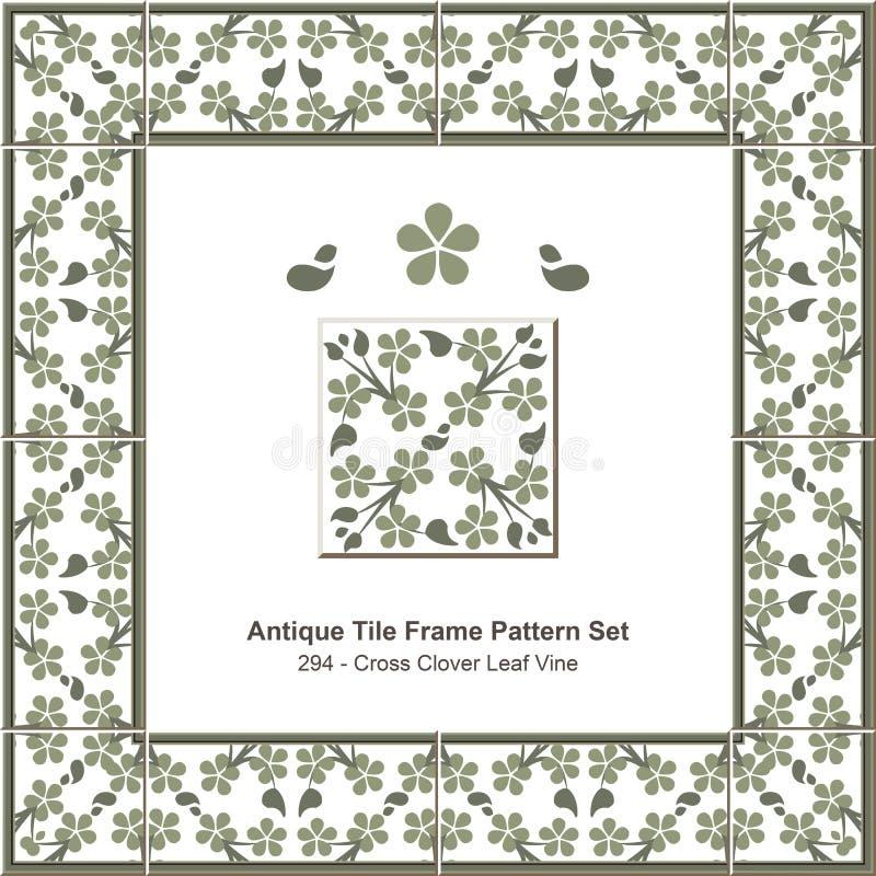 古色古香的瓦片框架样式set_294十字架三叶草叶子藤 向量例证