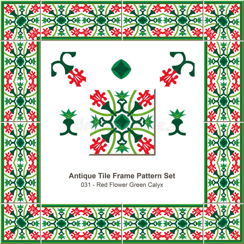 古色古香的瓦片框架样式set_031红色花Gree花苞 库存例证
