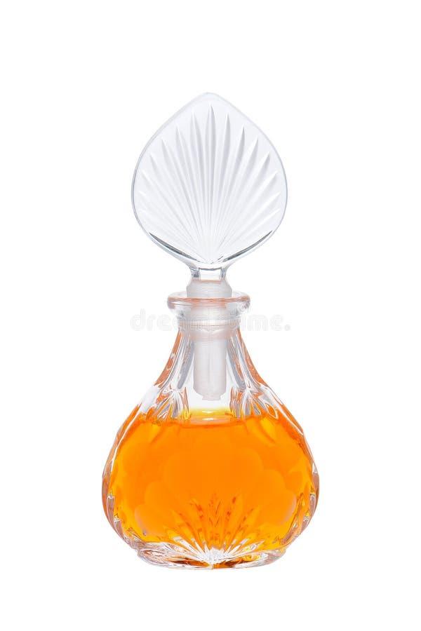 古色古香的瓶装饰性的刻花玻璃香水 免版税库存照片
