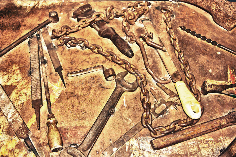 古色古香的生锈的工具 库存照片