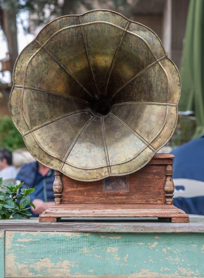 古色古香的留声机,特写镜头 免版税库存照片