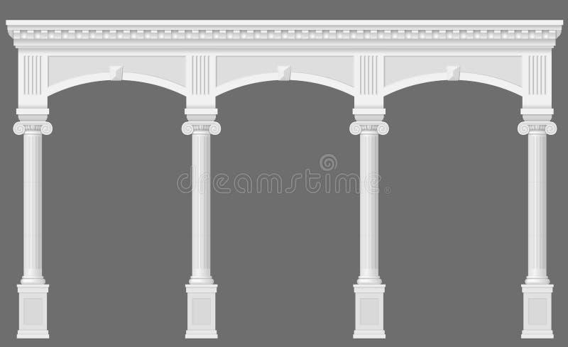 古色古香的白色拱廊 皇族释放例证