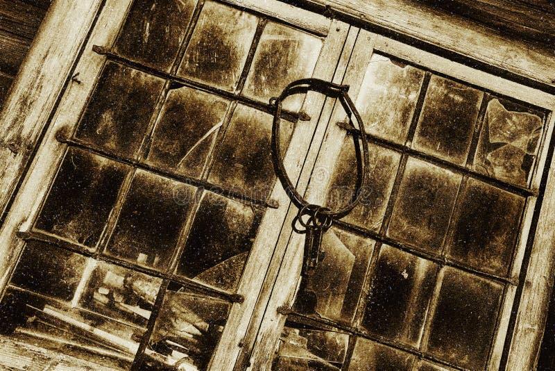 古色古香的窗架和彩色玻璃 库存图片