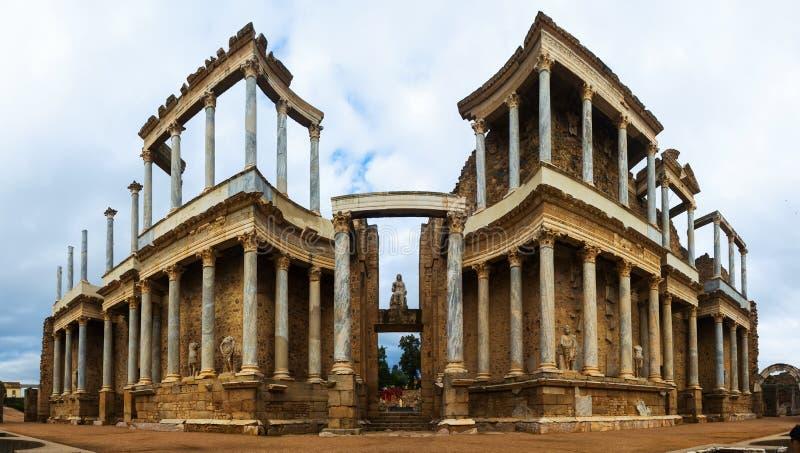古色古香的罗马剧院全景  梅里达 库存图片