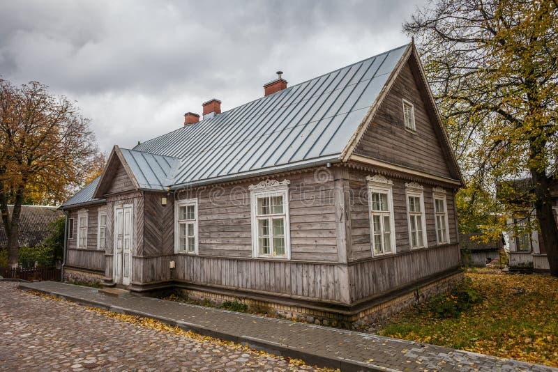 古色古香的老房子典型为特拉凯市 免版税图库摄影